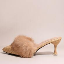 Braided Faux Fur Decor High Heel Mules