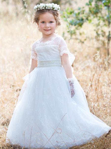 Milanoo Vestidos de niña de flores Cuello joya Tul Mangas cortas Hasta el suelo Princesa Silueta Arcos Vestidos formales para niños