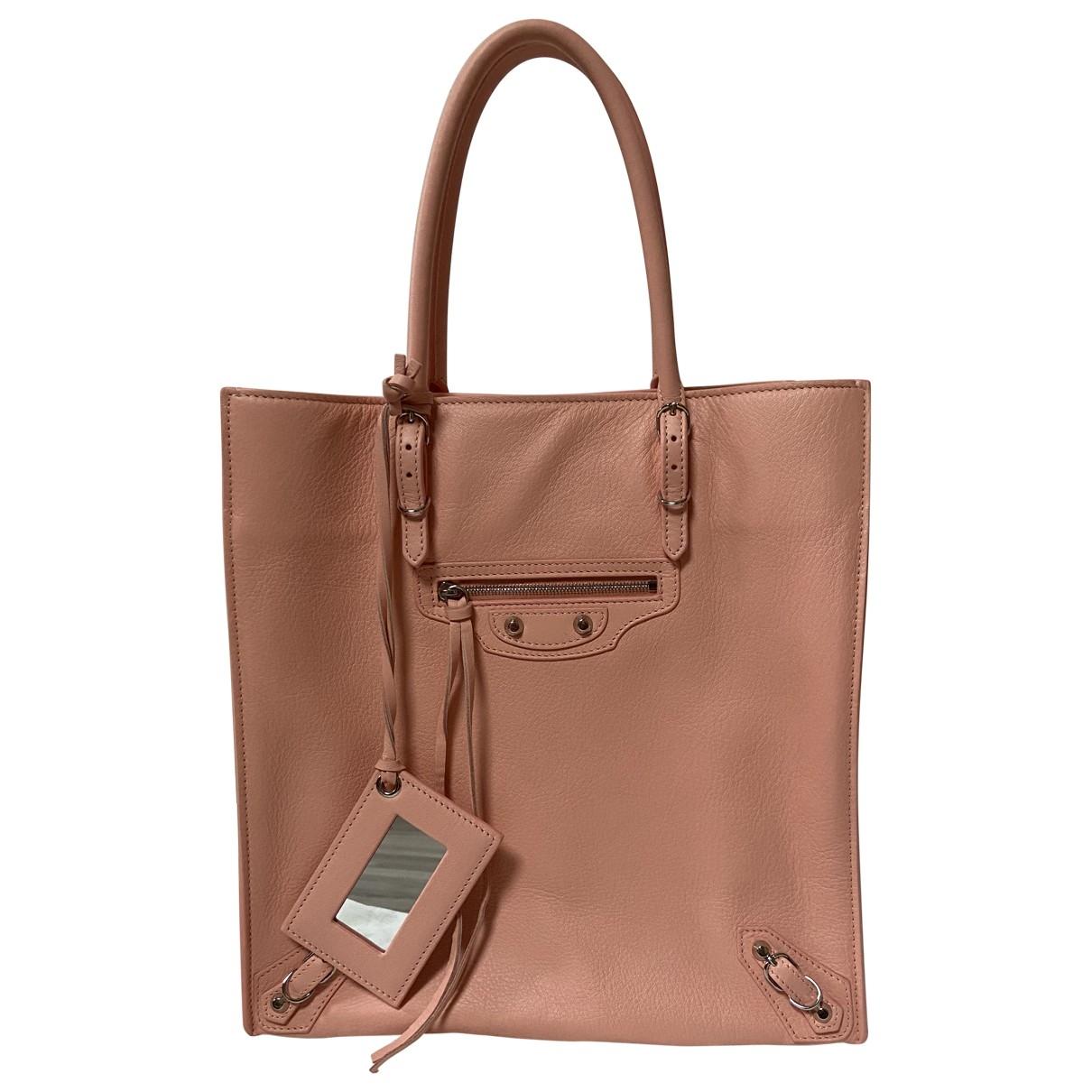 Balenciaga - Sac a main Papier pour femme en cuir - rose
