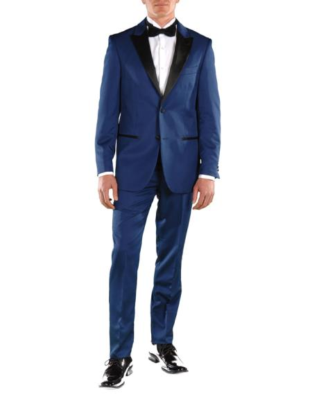 Men's Lapel 2 Button Single Breasted Slim Fit Blue 2 Piece Tuxedo Suit