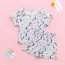 Toddler Girls Unicorn & Star Print PJ Set