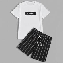 Maenner T-Shirt mit Rose Muster und Track Shorts