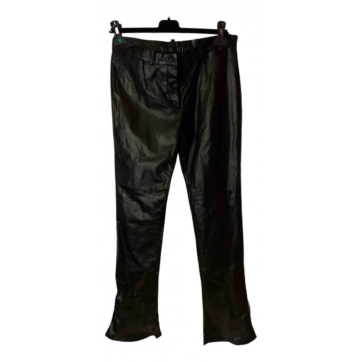 Costume National \N Black Leather Trousers for Women 44 IT
