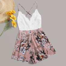 Jumpsuit mit Kreuzgurte und Blumen Muster