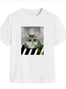 Beddinginn Cat Print Casual Short Sleeve Men's T-shirt