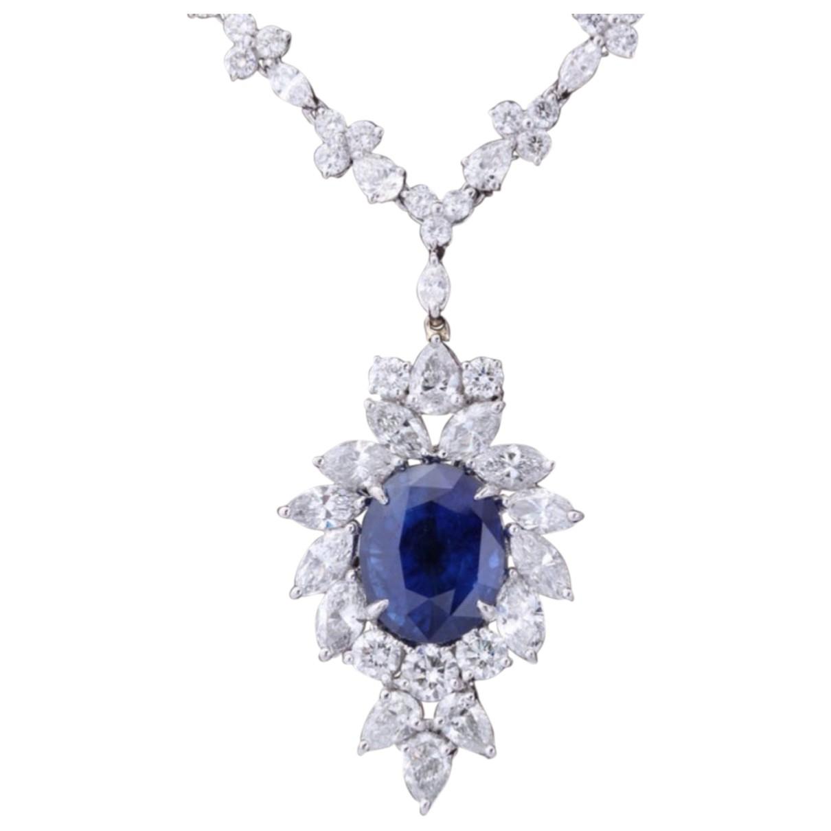 - Collier Saphir pour femme en or blanc - bleu