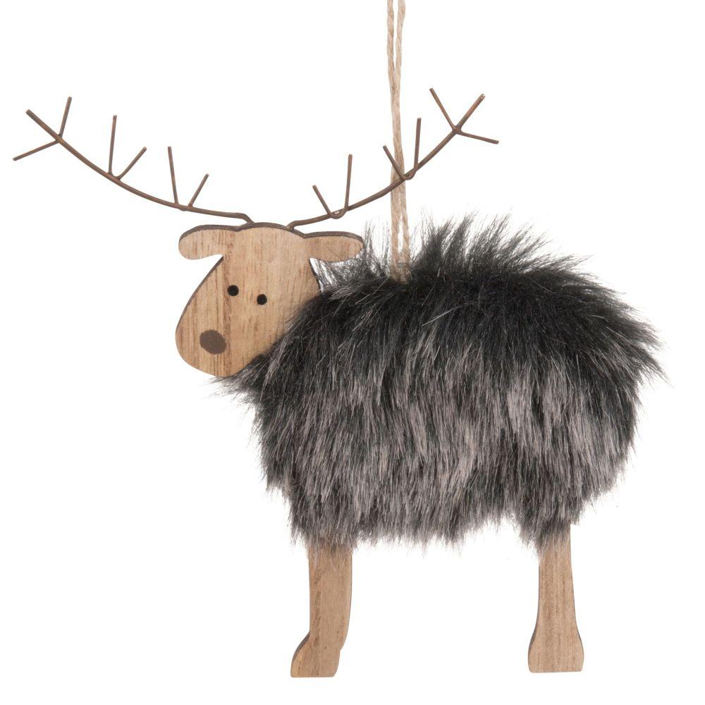 Weihnachtliche Haengedeko Rentier mit grauem Kunstfell