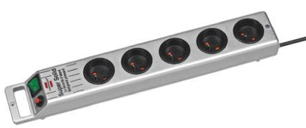 brennenstuhl 2.5m 5 Socket Type E - French Extension Lead, 230 V, Silver
