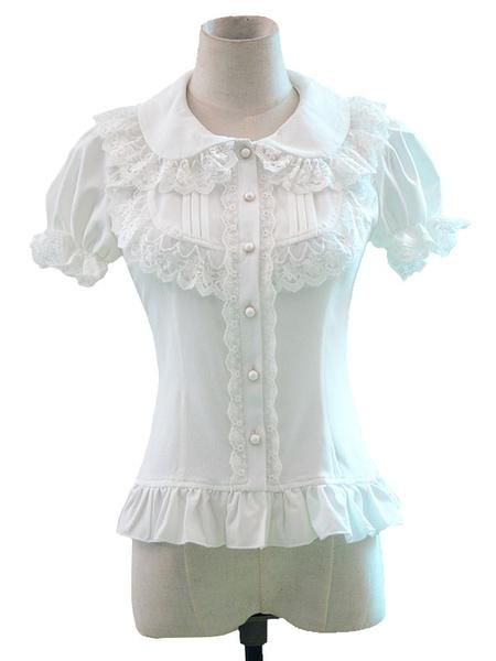 Milanoo Sweet Lolita Shirt White Lace Ruffle Short Sleeves Lolita Top