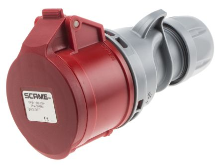 RS PRO IP44 Red Cable Mount 6P+E Industrial Power Socket, Rated At 16.0A, 415.0 V