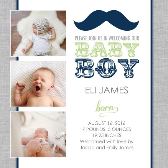 Newborn 5x5 Flat Card Set, 85lb, Card & Stationery -Mustache Baby Boy Birth Announcement