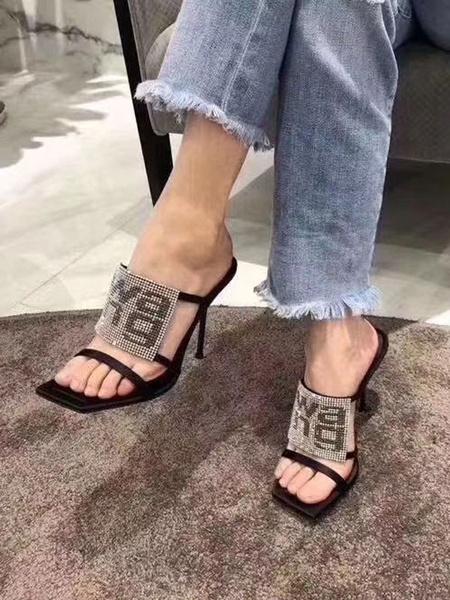 Milanoo Women\'s Sandals Rhinestone Stiletto Open Square Toe Summer Sandals