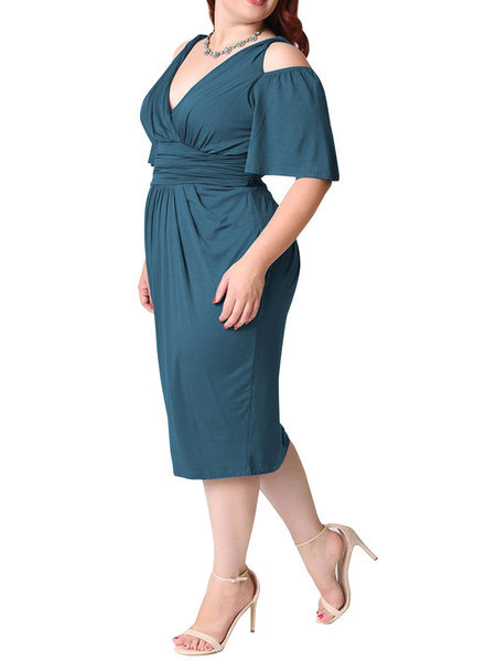 Milanoo White Bodycon Dress Plus Size Silk Cold Shoulder V Neck Draped Ruched Women's Wrap Dress