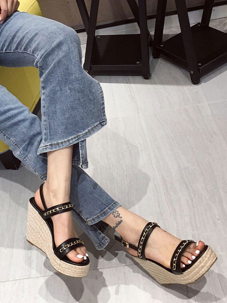 Milanoo Wedge Sandals For Women Amazing PU Leather Breathable Rubber Sole Summer Sandals