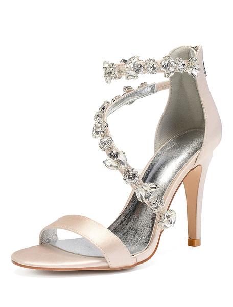 Milanoo High Heel Sandals Women Open Toe Rhinestones Strappy Wedding Shoes Satin Bridal Shoes