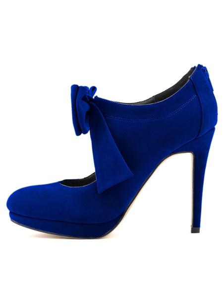 Milanoo Zapatos de tacon de puntera redonda Cuero con apariencia suave Color liso con lazo de tacon de stiletto