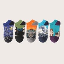 5 pares calcetines con patron de pintura