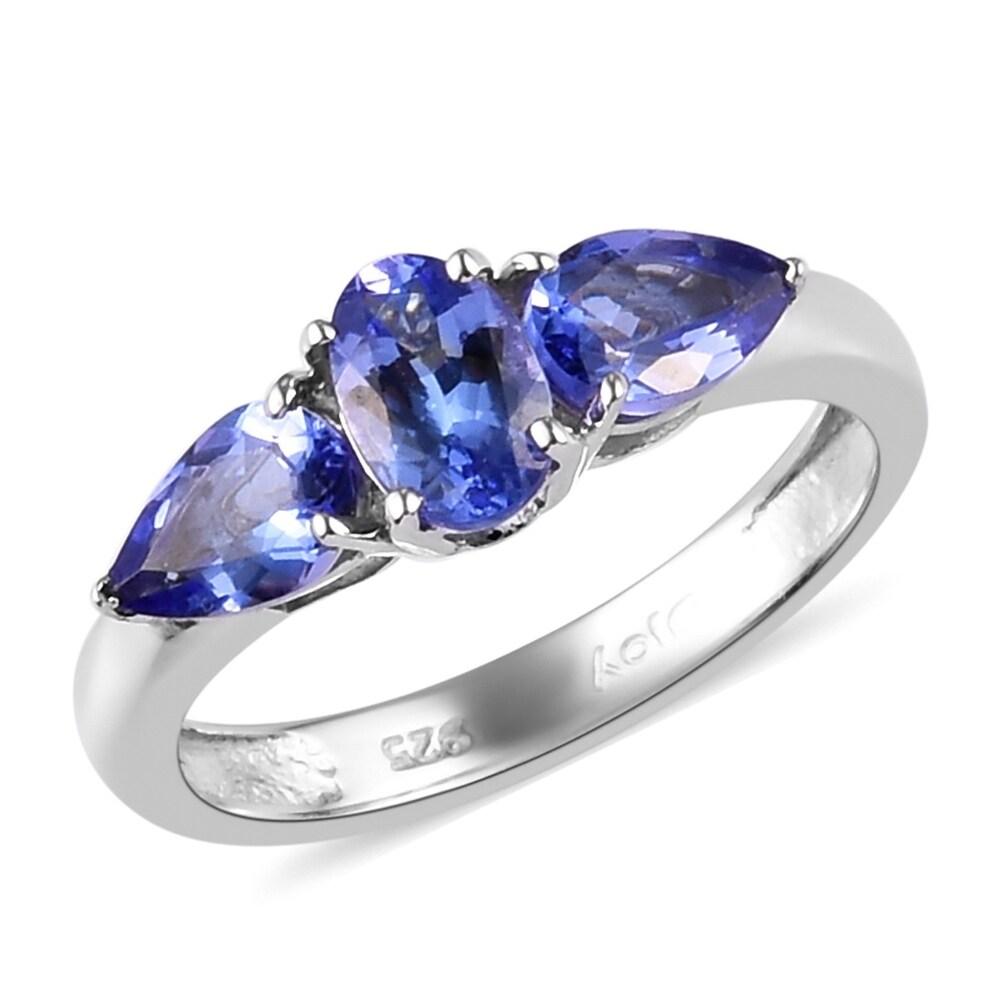 Platinum Over Sterling Silver Blue Tanzanite Ring Size 7 Ct 1.3 - Ring 7 (Blue - Blue - Tanzanite - Ring 7)