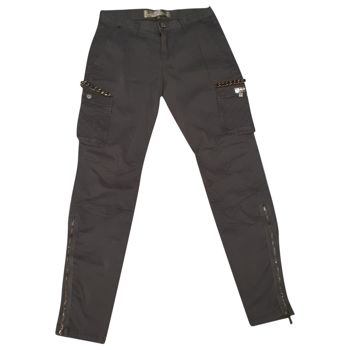 Pantalon en Algodon Gris Elisabetta Franchi