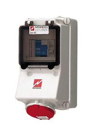 MENNEKES IP44 Industrial Interlock Socket 3P+N+E, 16A, 415 V, Red