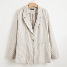 Plus Lapel Collar Striped Single Button Blazer