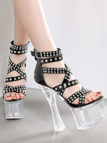 Milanoo Sexy Sandals For Woman Apricot PU Leather Square Toe Cross Strap Platform Sexy Sandals