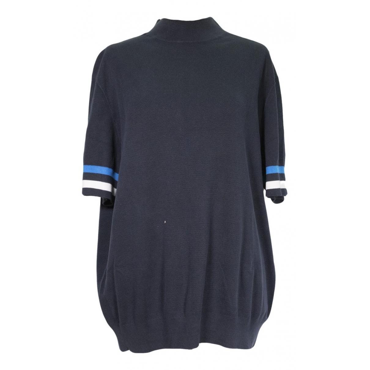 Hermes - Pull   pour femme en coton - bleu