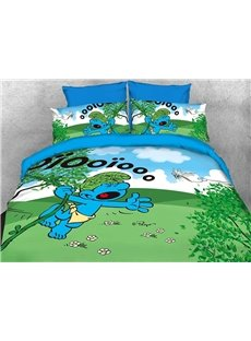 Wild Smurf in Jungle Natural 4-Piece Bedding Sets/Duvet Covers