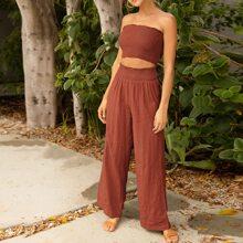 Shirred Crop Tube Top & Crinkle Pants Set