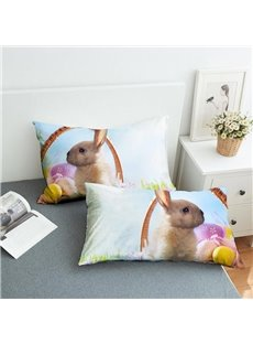 Cute Rabbit on The Grass Reactive Printing 2-Piece Polyester Pillowcase