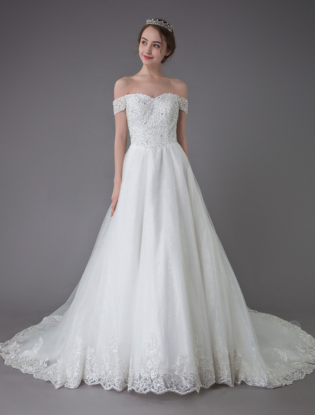 Milanoo Wedding Dresses Off The Shoulder Princess Lace Beaded Ivory Long Train Bridal Gowns