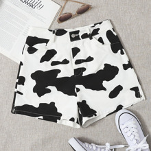 Shorts mit Kontrast Stich und Kuh Muster