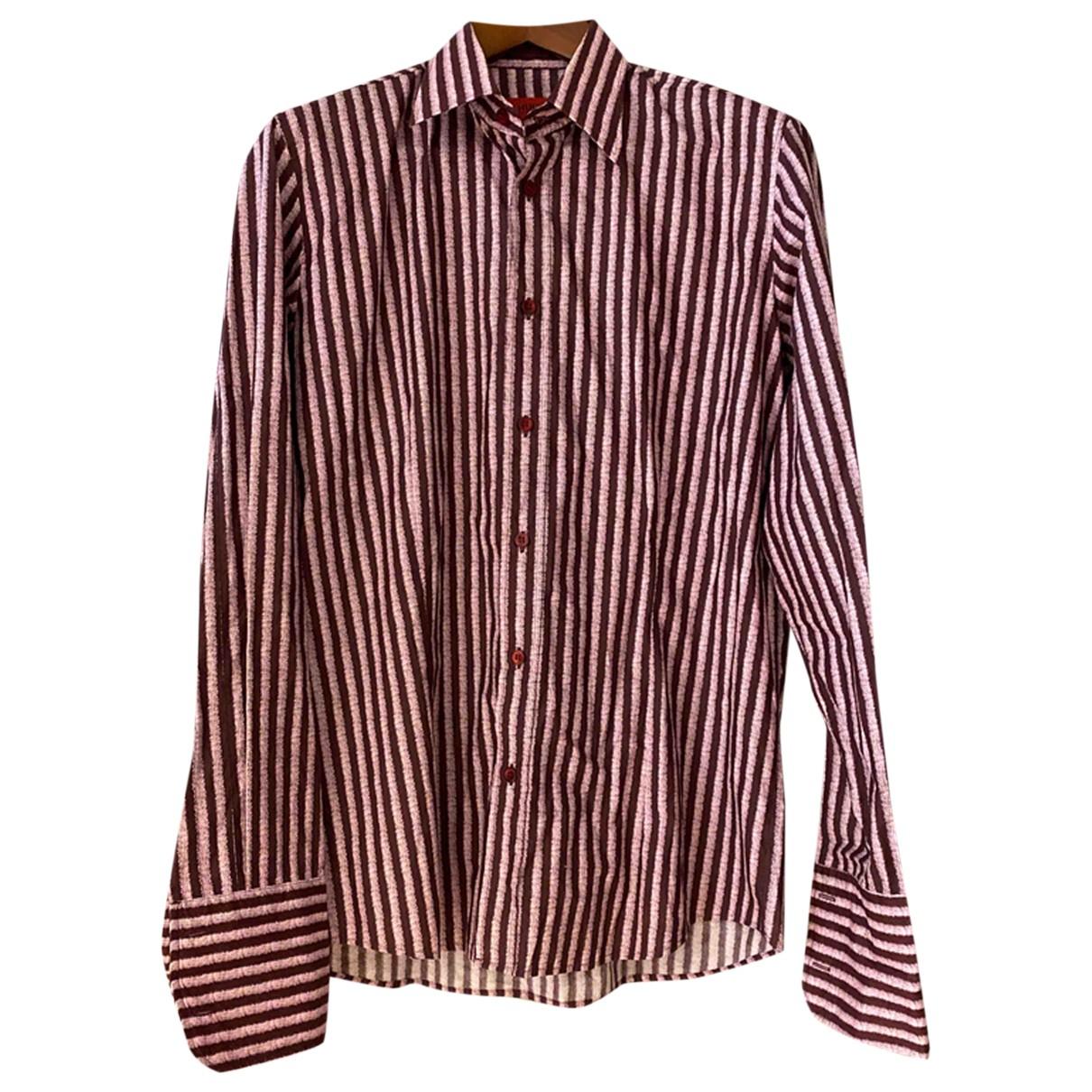 Hugo Boss - Chemises   pour homme en coton - bordeaux