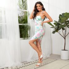 Tie Dye Drawstring Asymmetrical Hem Cami Dress