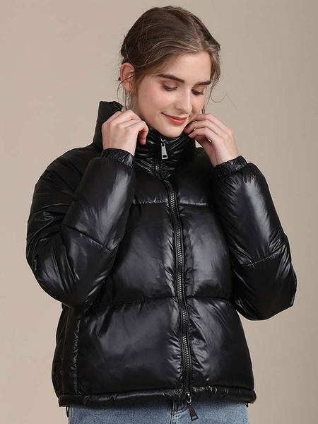 Milanoo Abrigos acolchados Abrigo de invierno de manga larga con cremallera y cuello alto Negro Preservacion del calor