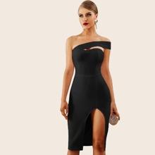 Adyce Solid One Shoulder Split Thigh Pencil Dress