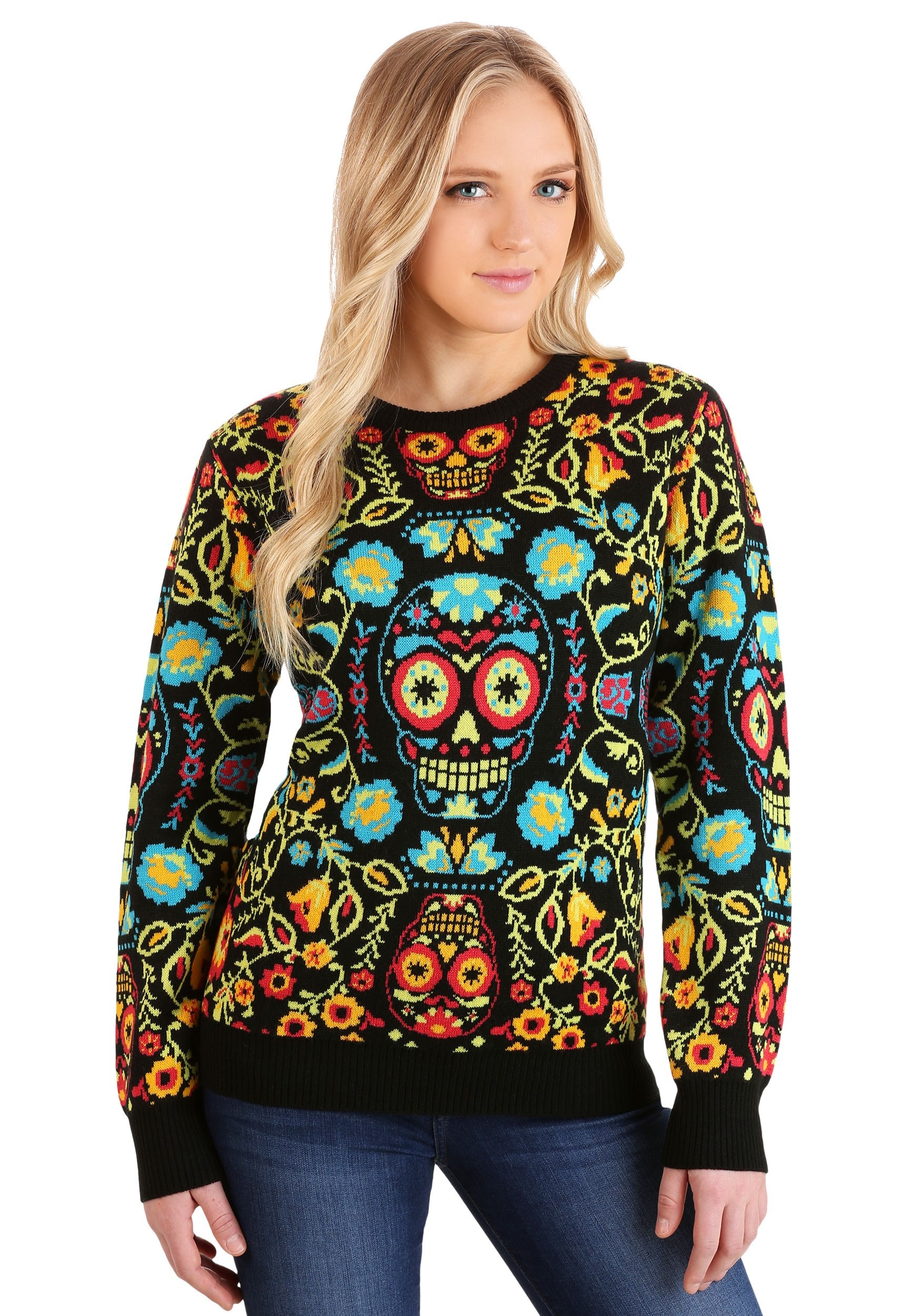 Sugar Skull Ugly Halloween Sweater | Exclusive