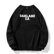 Sweatshirt mit Buchstaben Grafik und Raglanaermeln