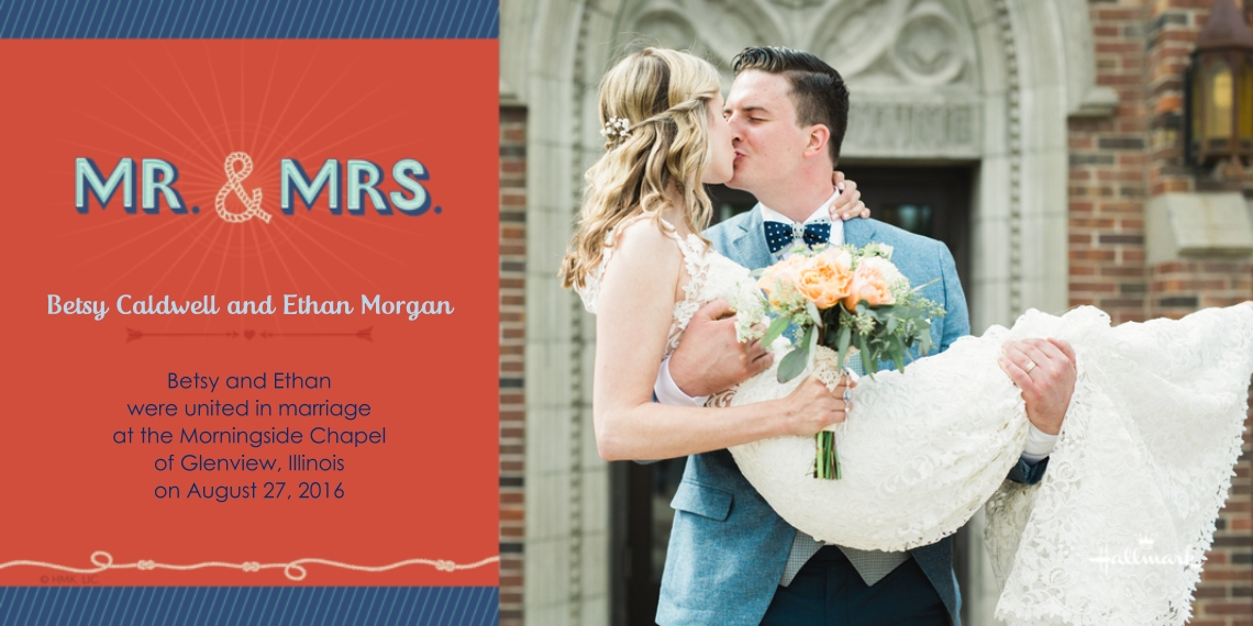 Just Married 4x8 Flat Card Set, 85lb, Card & Stationery -Nautical Mr. and Mrs.