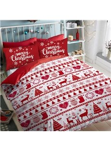 Red Christmas Trees And Christmas Stockings Polyester 4-Piece Bedding Sets/Duvet Cover