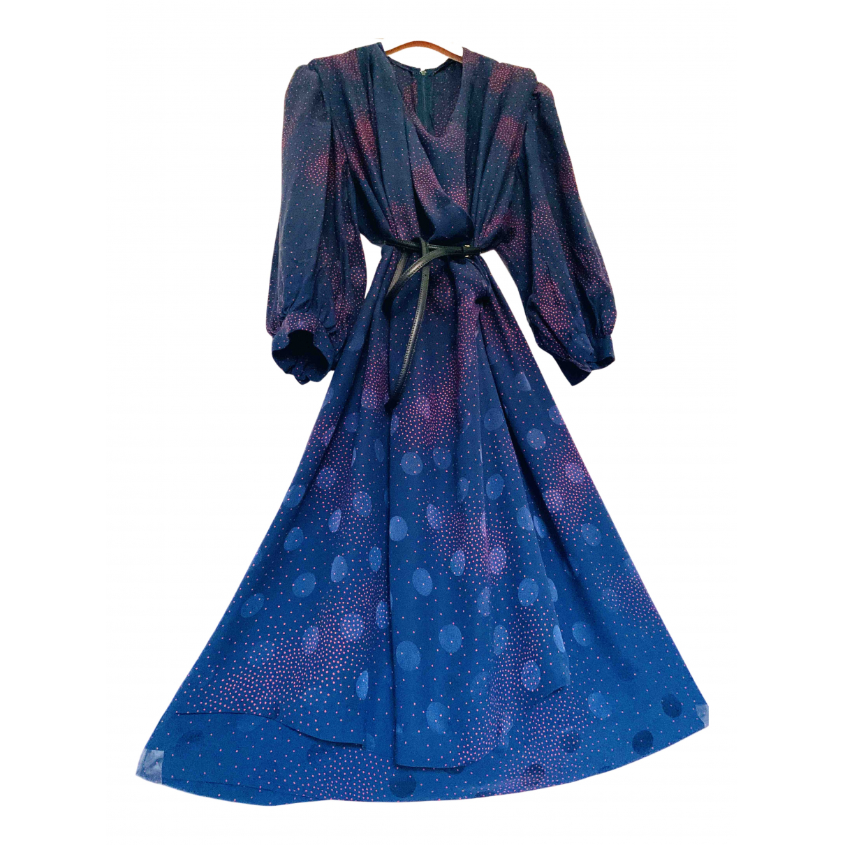 Non Signe / Unsigned Manche ballon Kleid in  Blau Seide