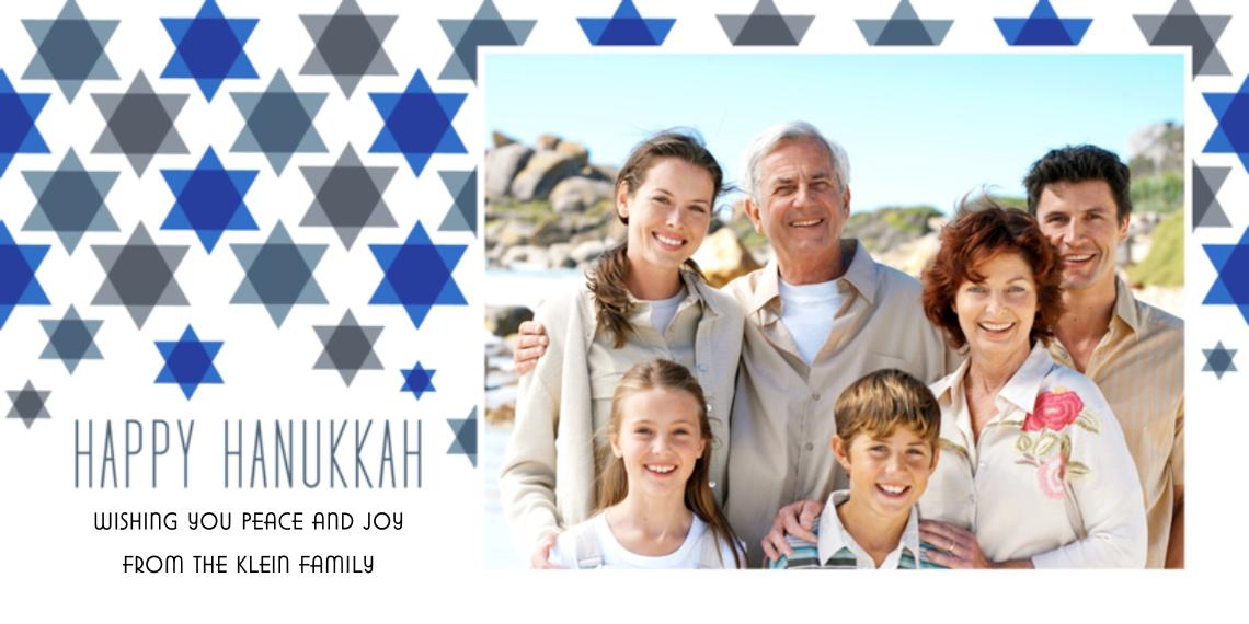 Hanukkah Photo Cards Flat Glossy Photo Paper Cards with Envelopes, 4x8, Card & Stationery -Star Pattern Hanukkah