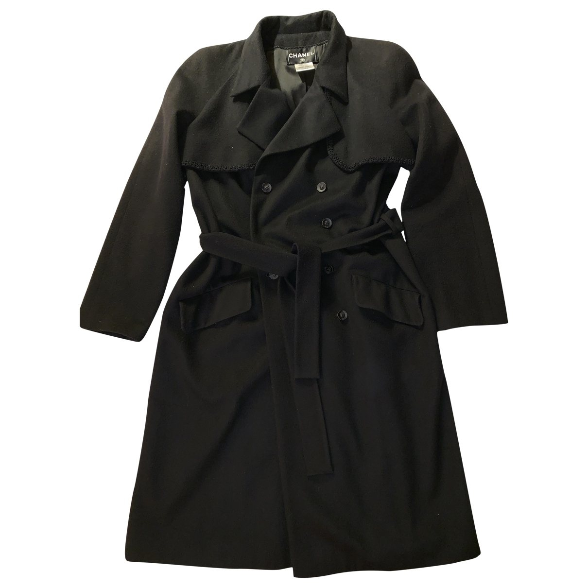 Chanel \N Black Cashmere Trench coat for Women 44 FR
