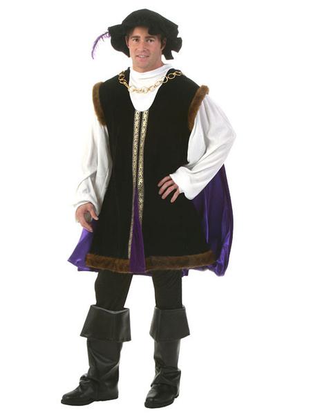 Milanoo Mens Halloween Costume Renaissance Black Set In 4 Pcs