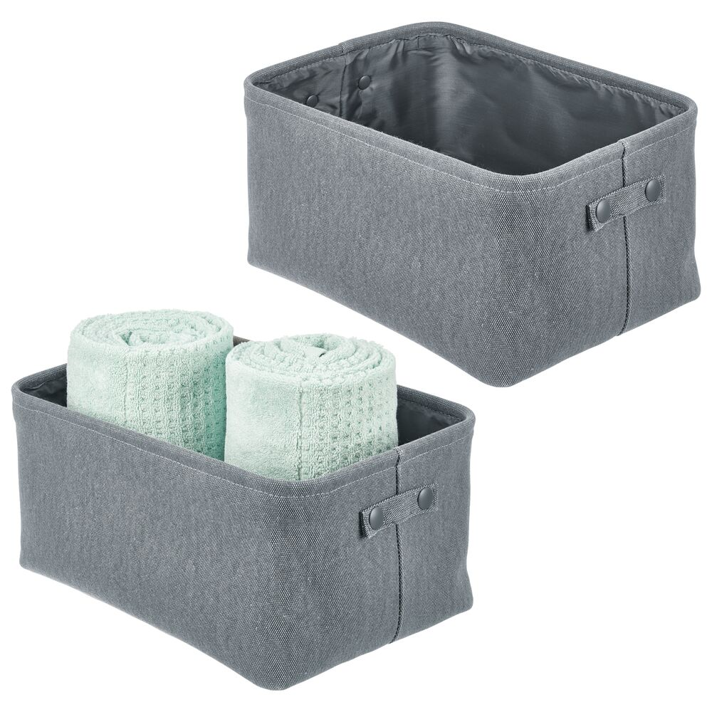 Small - Fabric Bathroom Storage Bin - Coated Interior in Charcoal Gray, Set of 2, by mDesign