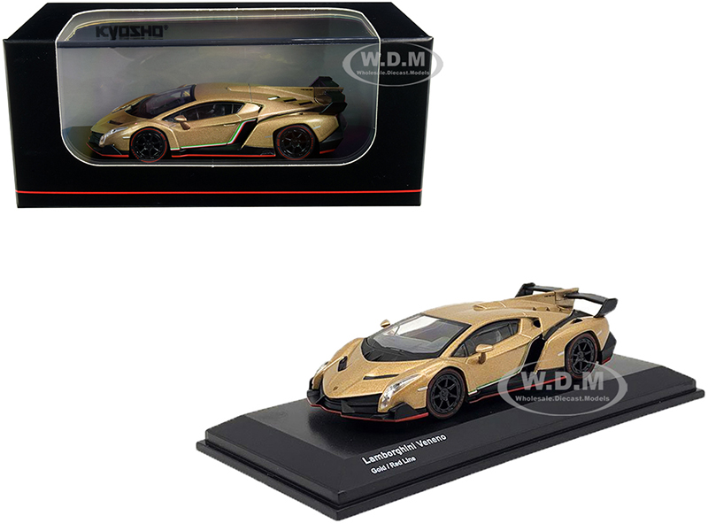 Lamborghini Veneno Gold with Red Line 1/64 Diecast Model Car by Kyosho