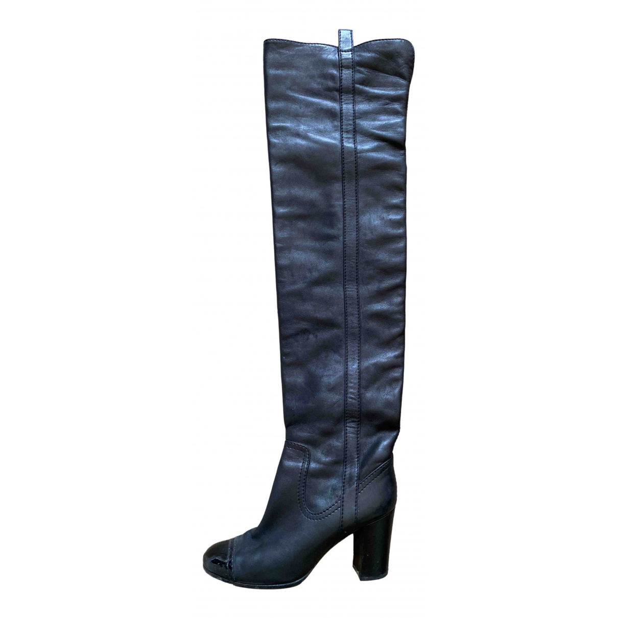 Chanel \N Black Leather Boots for Women 36.5 EU