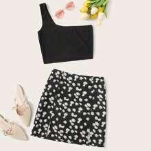 One Shoulder Crop Top & M-slit Daisy Floral Skirt Set
