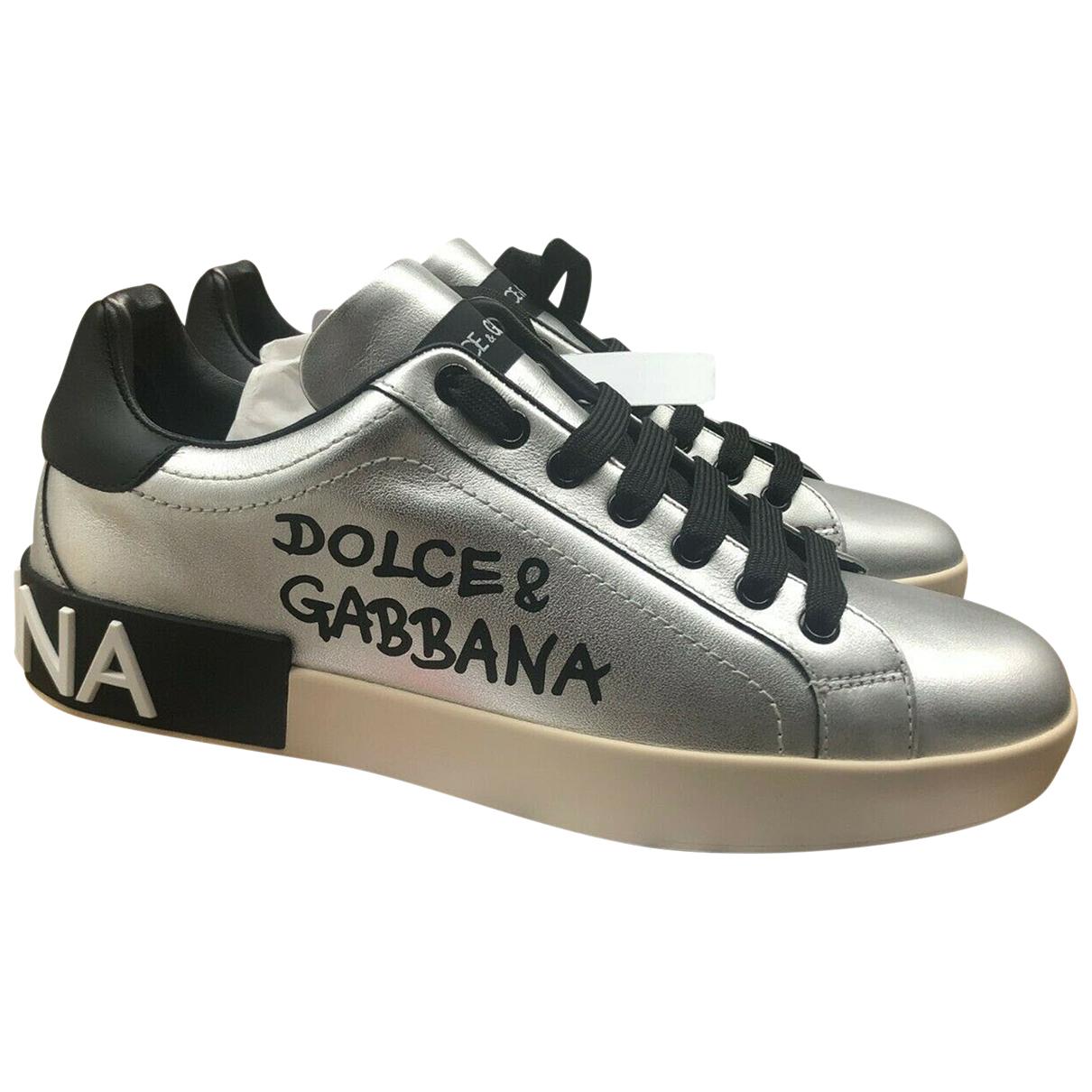 Dolce & Gabbana Portofino Sneakers in  Silber Leder