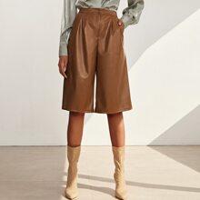 Shorts PU con bolsillo oblicuo